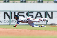 Peoria Javelinas right fielder Izzy Wilson (7), of the Atlanta Braves organization, slides into second base during an Arizona Fall League game against the Surprise Saguaros at Surprise Stadium on October 17, 2018 in Surprise, Arizona. (Zachary Lucy/Four Seam Images)