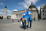 FK Trakai v St Johnstone…05.07.17… Europa League 1st Qualifying Round 2nd Leg<br />Saints fans in Vilnius ahead of kick off, from left, Gordon Thompson and Jamie Black from Kinross<br />Picture by Graeme Hart.<br />Copyright Perthshire Picture Agency<br />Tel: 01738 623350  Mobile: 07990 594431