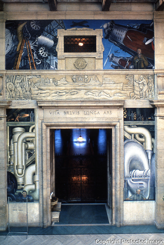 Detroit:   Detroit Industry--West Wall 1932-33. Diego M. Rivera 1886-1957. Technology, Air,  Water. Reference only.