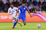 Salam Ranjan Singh of India (R) fights for the ball with Ali Jaafar Madan of Bahrain (L) during the AFC Asian Cup UAE 2019 Group A match between India (IND) and Bahrain (BHR) at Sharjah Stadium on 14 January 2019 in Sharjah, United Arab Emirates. Photo by Marcio Rodrigo Machado / Power Sport Images