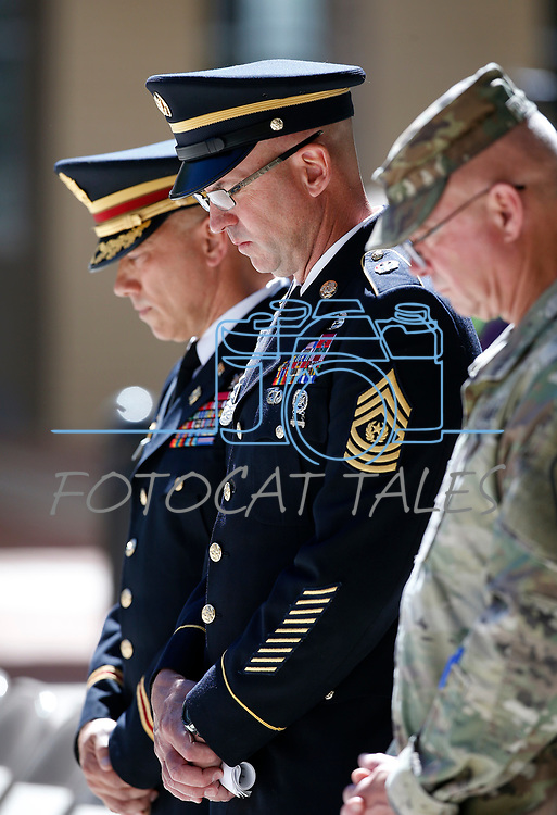 Officials listen to the invocation during the Nevada National Guard's 23rd annual Flag Day ceremony in Carson City, Nev., on Monday, June 14, 2021. <br /> Photo by Cathleen Allison