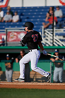 Batavia Muckdogs Troy Johnston (27) bats during a NY-Penn League game against the West Virginia Black Bears on June 25, 2019 at Dwyer Stadium in Batavia, New York.  Batavia defeated West Virginia 7-3.  (Mike Janes/Four Seam Images)