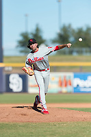 Scottsdale Scorpions relief pitcher Jonathan Hennigan (2), of the Philadelphia Phillies organization, delivers a pitch during an Arizona Fall League game against the Peoria Javelinas at Peoria Sports Complex on October 18, 2018 in Peoria, Arizona. Scottsdale defeated Peoria 8-0. (Zachary Lucy/Four Seam Images)