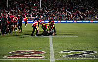 A pitch invader is wrapped up during the 2021 Super Rugby Aotearoa final between the Crusaders and Chiefs at Orangetheory Stadium in Christchurch, New Zealand on Saturday, 8 May 2021. Photo: Joe Johnson / lintottphoto.co.nz
