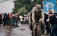 an incognito Sonny Colbrelli (ITA/Bahrain - Victorious) leaving the Carrefour de l'Arbre<br /> <br /> 118th Paris-Roubaix 2021 (1.UWT)<br /> One day race from Compiègne to Roubaix (FRA) (257.7km)<br /> <br /> ©kramon