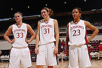 13 November 2005: Jillian Harmon, Morgan Clyburn and Rosalyn Gold-Onwude during Stanford's 92-65 win over Love and Basketball at Maples Pavilion in Stanford, CA.