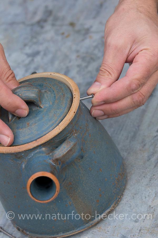 Eine Teekanne wird umgebaut zum Nistkasten, Vogelnistkasten, Meisenkasten, Deko, Dekoration. Der Deckel wird durch einen Nagel an der Teekanne fixiert und kann zum säubern geöffnet werden. Upcycling, Bastelei.