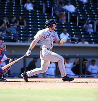 Tim Tebow of the Scottsdale Scorpions collects his first Arizona Fall League hit in a game against the Mesa Solar Sox at Sloan Park on October 18, 2016 in Mesa, Arizona (Bill Mitchell)