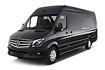 2014 Mercedes Benz Sprinter 319 Bluetec Extra Long High roof 4 Door Cargo Van 2WD Angular Front stock photos of front three quarter view