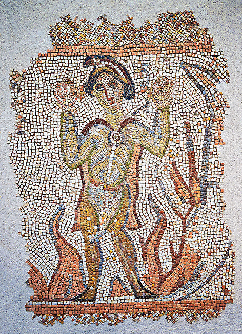 Roman mosaic of a Hebrew, possibly from North Syria 5th-6th century AD J-C. dressed in Oriental clothing, that young man is identified by writing in Syriac has the right to his head: it tells of three Hebrews miraculously surviving after being thrown into a fire for refusing to worship the image of Nebuchadnezzar. This is biblical episode is from the Book Daniel (3 1-30), and is commonly illustrated in the East as in the West. Inv 3671, The Louvre Museum, Paris