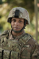 Outside portrait of African American Army soldier Ralph looking at camera