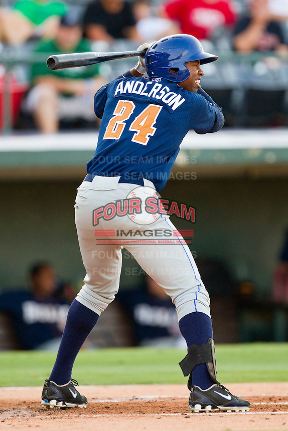 Leslie Anderson #24 of the Durham Bulls at bat against the Charlotte Knights at Knights Stadium on August 2, 2011 in Fort Mill, South Carolina.  The Bulls defeated the Knights 18-3.   (Brian Westerholt / Four Seam Images)