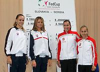 Tenis, Fed Cup 2011, play-off for group A.Slovakia Vs. Serbia, Official Draw.from left, Magdalena Rybarikova, Daniela Hantuchova, Jelena Jankovic and Aleksandra Krunic.Bratislava, 15.04.2011..foto: Srdjan Stevanovic/Starsportphoto ©