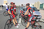 BMC Racing Team riders relax before the start of Stage 1 of the Tour of Qatar 2012 running 142.5km from Barzan Towers to Doha Golf Club, Doha, Qatar. 5th February 2012.<br /> (Photo by Eoin Clarke/NEWSFILE).