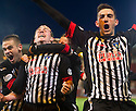 Dunfermline players celebrate after Allan Smith (2nd left) scores their third goal.