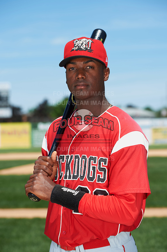 Batavia Muckdogs infielder Javier Lopez (23) poses for a photo before the teams first practice on June 15, 2016 at Dwyer Stadium in Batavia, New York.  (Mike Janes/Four Seam Images)