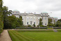 The facade of the family's private wing at Goodwood, bookended by two distinctive corner towers