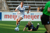 BRIDGEVIEW, IL - JULY 18: Celia Jimenez Delgado #13 of the OL Reign dribbles the ball during a game between OL Reign and Chicago Red Stars at SeatGeek Stadium on July 18, 2021 in Bridgeview, Illinois.