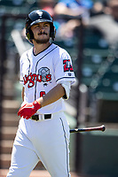 Lansing Lugnuts outfielder Austin Beck (6) walks back to the dugout after striking out on May 30, 2021 against the Great Lakes Loons at Jackson Field in Lansing, Michigan. (Andrew Woolley/Four Seam Images)