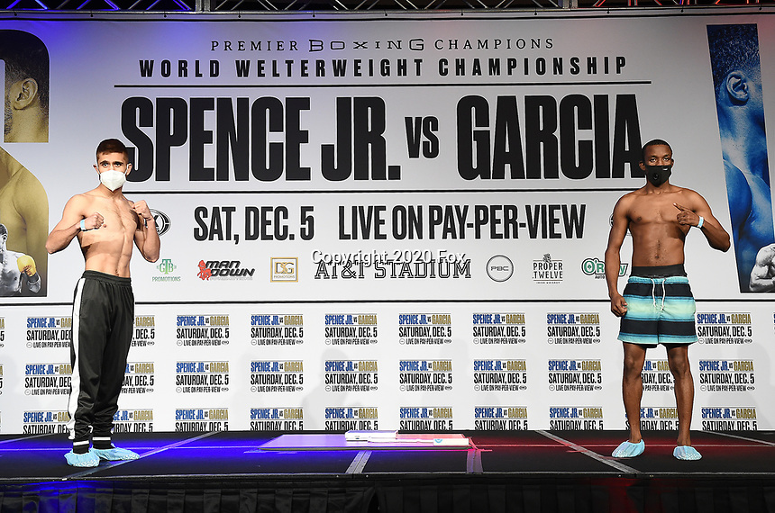 DALLAS, TX - DECEMBER 4: Isaac Avelar and Sakaria Lukas attend the weigh-in for the Errol Spence Jr. vs Danny Garcia December 5, 2020 Fox Sports PBC Pay-Per-View fight night at AT&T Stadium in Arlington, Texas. (Photo by Frank Micelotta/Fox Sports)