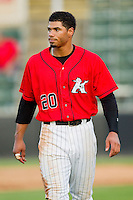 Jacob May (20) of the Kannapolis Intimidators between innings of the South Atlantic League game against the Lexington Legends at CMC-Northeast Stadium on July 29, 2013 in Kannapolis, North Carolina.  The Intimidators defeated the Legends 10-5.  (Brian Westerholt/Four Seam Images)