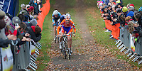 03 NOV 2012 - IPSWICH, GBR - Mike Teunissen (NED) of the Netherlands sprints for the finish line at the end of the Under 23 Men's European Cyclo-Cross Championships in Chantry Park, Ipswich, Suffolk, Great Britain (PHOTO (C) 2012 NIGEL FARROW)
