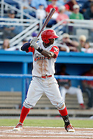 Williamsport Crosscutters outfielder Kyrell Hudson #13 during the second game of a doubleheader against the Batavia Muckdogs at Dwyer Stadium on August 23, 2011 in Batavia, New York.  Batavia defeated Williamsport 2-1.  (Mike Janes/Four Seam Images)