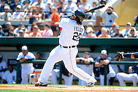 Detroit Tigers first baseman Prince Fielder #28 hits a home run during a Spring Training game against the Tampa Bay Rays at Joker Marchant Stadium on March 29, 2013 in Lakeland, Florida.  (Mike Janes/Four Seam Images)