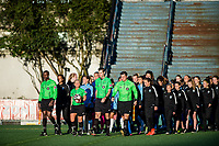 Seattle, WA - April 15th, 2017: Seattle Reign FC and Sky Blue FC prior to a  regular season National Women's Soccer League (NWSL) match between the Seattle Reign FC and Sky Blue FC at Memorial Stadium.
