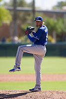 Los Angeles Dodgers pitcher Juan Morillo (8) delivers a pitch to the plate during an Instructional League game against the Chicago White Sox on September 30, 2017 at Camelback Ranch in Glendale, Arizona. (Zachary Lucy/Four Seam Images)