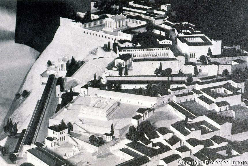 Greek Art:  Pergamon--Acropolis model. Pergamon Museum, Berlin.  Gutkind, IV, 575.