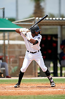 GCL Marlins Lorenzo Hampton (38) during a Gulf Coast League game against the GCL Cardinals on August 12, 2019 at the Roger Dean Chevrolet Stadium Complex in Jupiter, Florida.  GCL Marlins defeated the GCL Cardinals 9-2.  (Mike Janes/Four Seam Images)