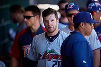 Fort Myers Miracle first baseman Caleb Hamilton (20) in the dugout during a game against the Clearwater Threshers on April 25, 2018 at Spectrum Field in Clearwater, Florida.  Clearwater defeated Fort Myers 9-5.  (Mike Janes/Four Seam Images)