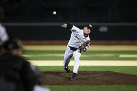 Wake Forest Demon Deacons relief pitcher Cole McNamee (17) delivers a pitch to the plate against the Louisville Cardinals at David F. Couch Ballpark on March 6, 2020 in  Winston-Salem, North Carolina. The Cardinals defeated the Demon Deacons 4-1. (Brian Westerholt/Four Seam Images)