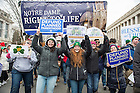 January 27, 2017; Students faculty, and staff from Notre Dame, Saint Mary's, and Holy Cross College march at the National March for Life in Washington, D.C.  (Photo by Barbara Johnston/University of Notre Dame)