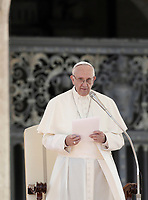 Pope Francis leads an audience to the Vincentian family on the 400th centenary of the Vincentian Charism in St. Peter's Square at the Vatican, on October 14, 2017.<br /> UPDATE IMAGES PRESS/Isabella Bonotto<br /> <br /> STRICTLY ONLY FOR EDITORIAL USE