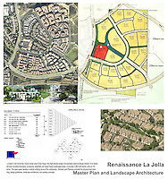 Renaissance La Jolla Master Plan and Landscape Architecture. Incorporates classical design themes of Italian hill town with landscaped areas. Vicki Estrada, FASLA.
