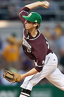 Mississippi State pitcher Evan Mitchell #51 delivers against the LSU Tigers during the NCAA baseball game on March 17, 2012 at Alex Box Stadium in Baton Rouge, Louisiana. The 10th-ranked LSU Tigers beat #21 Mississippi State, 4-3. (Andrew Woolley / Four Seam Images).