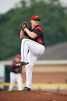 Batavia Muckdogs starting pitcher Taylor Braley (10) delivers a pitch during a game against the West Virginia Black Bears on August 7, 2017 at Dwyer Stadium in Batavia, New York.  West Virginia defeated Batavia 6-3.  (Mike Janes/Four Seam Images)
