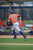 Houston Astros Michael Papierski (64) runs to first base during a Minor League Spring Training Intrasquad game on March 28, 2019 at the FITTEAM Ballpark of the Palm Beaches in West Palm Beach, Florida.  (Mike Janes/Four Seam Images)