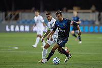 SAN JOSE, CA - OCTOBER 03: Chris Wondolowski #8 of the San Jose Earthquakes and Jonathan dos Santos #8 of the LA Galaxy battle for the ball during a game between Los Angeles Galaxy and San Jose Earthquakes at Earthquakes Stadium on October 03, 2020 in San Jose, California.