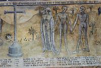 """Europe/France/Auvergne/63/Puy-de-Dôme/Ennezat: L'église Saint-Victor (ancienne collégiale Saint-Victor et Sainte Couronne) - Détail de la fresque de 1420 intitulée """"Rencontre des trois vifs et des trois morts"""""""