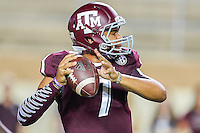 Texas A&M quarterback Kenny Hill (7) looks to throw a pass during first half of NCAA Football game, Saturday, September 06, 2014 in College Station, Tex. Texas A M leads Lamar 31-3 at the halftime. (Mo Khursheed/TFV Media via AP Images)