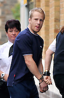 """Pictured: Dean Marcus Jones arrives at Magistrates Court in Swansea, Wales, UK. Saturday 17 September 2016<br /> Re: South Wales Police has charged 37-year-old Dean Marcus Jones with the murder of Alison Jane Farr-Davies and has appeared before<br /> Swansea Magistrates Court. The body of Alison Jane Farr-Davies was discovered in the Hafod area of Swansea.<br /> In a statement, Alison's family paid the following tribute: """"As a family we are totally devastated at the loss of our beautiful daughter, sister, aunt and niece.<br /> """"Ali was a very gentle, caring and loving person who doted on her two young nieces. She used to love them visiting her and spending time on the beach together.<br /> """"Ali was always helping others and would go out of her way to help people who were less fortunate than her. She loved animals and took in her beloved dog Max from an animal rescue centre as she couldn't bear to see him alone."""