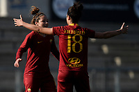 Vanessa Bernauer of AS Roma celebrates with Martina Piemonte after scoring second goal for her side during the Women Italy cup round of 8 second leg match between AS Roma and Roma Calcio Femminile at stadio delle tre fontane, Roma, February 20, 2019 <br /> Foto Andrea Staccioli / Insidefoto