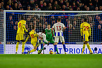 Jose Izquierdo of Brighton & Hove Albion (19) is fouled for the penalty scored by Glenn Murray of Brighton & Hove Albion (17) ,during the Premier League match between Brighton and Hove Albion and Crystal Palace at the American Express Community Stadium, Brighton and Hove, England on 4 December 2018. Photo by Edward Thomas / PRiME Media Images.