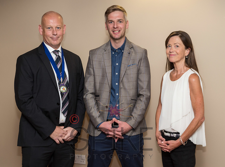 NCBC Club President Ian Roberts (left) and Guest speaker Michael Temple, Commercial Director at Nottinghamshire County Cricket Club and Pip Dawkins of sponsors Buckles