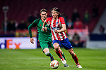 Filipe Luis (R) of Atletico de Madrid fights for the ball with Aleksey Miranchuk of FC Lokomotiv Moscow during the UEFA Europa League 2017-18 Round of 16 (1st leg) match between Atletico de Madrid and FC Lokomotiv Moscow at Wanda Metropolitano  on March 08 2018 in Madrid, Spain. Photo by Diego Souto / Power Sport Images