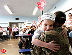 Waterbury, CT- 10 November 2014-111014CM01-  CJ Gallagher, 4, hugs his aunt, US. Army sergeant, Shannon Torgersen, after surprising him at Bunker Hill School in Waterbury on Monday.  Torgersen recently returned home from serving in Afghanistan.   Christopher Massa Republican-American