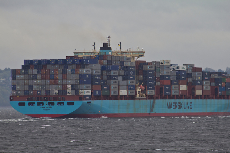 Post Panamax container ship, Anna Maersk, Maersk Lines, transits Puget Sound en route to Port of Tacoma, Washington State, United States,